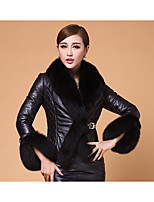 Women's Casual/Daily Simple Jackets,Solid Long Sleeve Winter Red / Black Faux Fur Thick