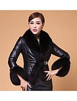 Женский На каждый день Однотонный КурткаПростое Зима Красный / Черный Длинный рукав,Искусственный мех,Толстая