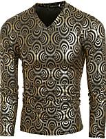 Men's Casual/Daily / Club Punk & Gothic All Seasons T-shirtPolka Dot V Neck Long Sleeve Gold / Silver Cotton Medium