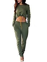 Set Pantalon Costumes Femme,Couleur Pleine Sortie / Décontracté / Quotidien simple Automne / Hiver Manches Longues Col Arrondi Vert
