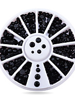 1pcs  Black 3d Nail Rhinestone Pearls  Nail Tips Sticker Decoration Wheel