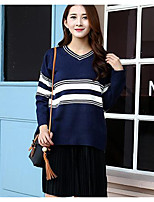 Women's Casual/Daily Simple Long Pullover,Color Block Blue / White / Black V Neck Long Sleeve Acrylic Fall / Winter Medium Micro-elastic
