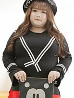 Tee-shirt Femme,Imprimé Décontracté / Quotidien / Grandes Tailles simple Automne / Hiver Manches Longues Col Arrondi Noir Coton