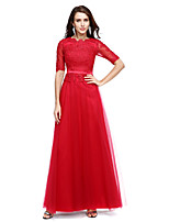 A-Line Scoop Neck Floor Length Chiffon Formal Evening Dress with Appliques by TS Couture®