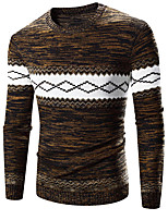 Brand Hight Qualiyt Men's Casual/Daily Active Regular PulloverColor Block Brown Round Neck Long Sleeve Polyester Spring / Autumn Medium Micro-elastic