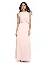 2017 Formal Evening Dress Sheath / Column Jewel Floor-length Chiffon with Lace