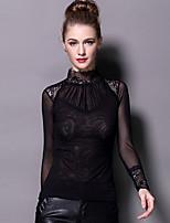 Tee-shirt Femme,Couleur Pleine / Mosaïque Sortie / Travail Sexy Printemps Manches Longues Mao Noir Polyester / Nylon / SpandexTransparent