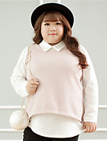 Women's Casual/Daily Plus Size Simple Regular Cardigan,Solid Pink Shirt Collar Long Sleeve Polyester Fall Winter Medium Inelastic