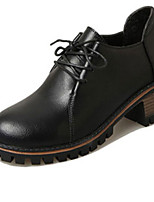 Women's Boots Fall Winter Comfort PU Casual Flat Heel Lace-up Black Brown Red Others