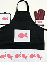 3pcs High Quality Cotton Apron & Pot Holder & Oven Mitt For Cooking Bread / Chocolate / Cake / Meat / Pizza  Heat-insulated / Eco-Friendly