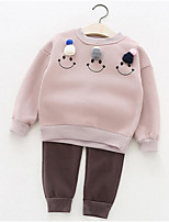 Girl Casual/Daily Floral Sets,Cotton Winter ¾ Sleeve Clothing Set
