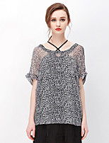 NAKED ZEBRA Women's Casual Street chic Summer BlousePrint Round Neck Short Sleeve Black Silk