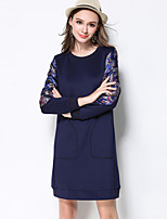 MEIDONGTAI Women's Plus Size / Casual/Daily Vintage Shift DressEmbroidered Round Neck Above Knee Long Sleeve Blue Cotton / Rayon / PolyesterFall /