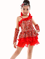 Belly Dance Outfits Children's Performance Polyester Ruched / Sequins 3 Pieces Dress