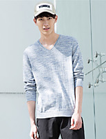 Metersbonwe Men's Casual/Daily Street chic Regular PulloverSolid Gray V Neck Long Sleeve Rayon Fall Medium Micro-elastic