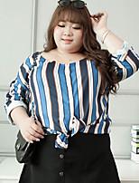 Tee-shirt Femme,Rayé Décontracté / Quotidien / Grandes Tailles simple Automne Manches Longues Col Arrondi Bleu Polyester