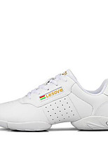 Women's Dance Shoes Sneakers Breathable Leather Low Heel White