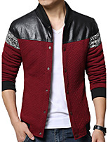 Men's Plus Size / Casual/Daily Simple Jackets Patchwork Stand Long Sleeve Spring / Fall Blue / Red / Black Polyester Medium k310