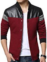 Мужчины На каждый день / Большие размеры Пэчворк Куртка Воротник-стойка,Простое Весна / Осень Синий / Красный / Серый Длинный рукав,