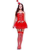 Christmas Costume/Holiday Halloween Costumes Red Solid Dress / Headwear Christmas Female Polyester