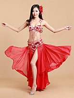 Belly Dance Outfits Women's Performance Polyester / Spandex Sequins / Split 3 Piece Sleeveless Natural Dance Costumes