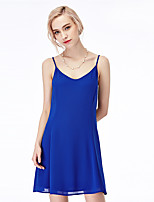 NAKED ZEBRA Women's Casual Street chic Sheath DressSolid V Neck Above Knee Sleeveless Blue / Pink / Black Polyester Summer Mid Rise Inelastic Thin