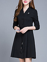 Women's Plus Size / Going out / Casual/Daily Simple / Street chic Sheath Dress,Solid Round Neck Above Knee Long Sleeve Red / Black Rayon