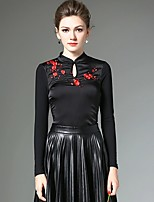 XSSL Women's Casual / Going out / Formal Vintage / Tops / Chinoiserie Winter / Autumn T-shirtPatchwork / Embroidered Stand Long SleeveRed /
