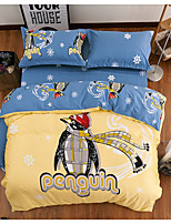 Animal Duvet Cover Sets 4 Piece Cotton Cartoon Reactive Print Cotton Queen 1pc Duvet Cover / 2pcs Shams / 1pc Flat Sheet