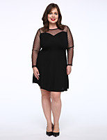 Women's Plus Size / Casual/Daily Simple Little Black Dress,Solid Round Neck Above Knee Long Sleeve Black Cotton Fall Mid Rise