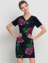 Женский На каждый день Шинуазери (китайский стиль) Оболочка Платье Вышивка,V-образный вырез Выше колена С короткими рукавами Черный