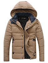 Пальто Простое Обычная На подкладке Мужчины,Однотонный На каждый день Хлопок Полиэстер,Длинный рукав Капюшон Синий / Черный