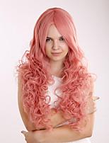 460г сексуальной мода опухшей синтетического розового парик блондинка дама длинный вьющийся парик косплей для костюма партии