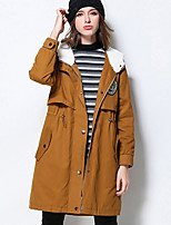 MEIDONGTAI Women's Plus Size / Casual/Daily Simple Trench CoatLetter Hooded Long Sleeve Winter Yellow Cotton Thick