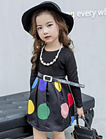 Girl's Casual/Daily Print / Patchwork Dress,Polyester / Cotton Blend Winter / Spring / Fall Long Sleeve