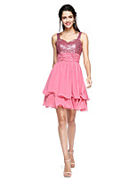 2017 TS Couture® Prom Cocktail Party Dress - Sparkle & Shine A-line Straps Short / Mini Chiffon / Sequined with Sash / Ribbon / Ruching / Tassel(s)