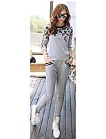 Tee-shirt Pantalon Costumes Femme,Fleur Décontracté / Quotidien Actif Printemps Automne Sans Manches Col Arrondi Gris Coton