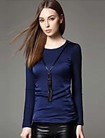 Tee-shirt Femme,Couleur Pleine / Mosaïque Sortie / Travail simple / Chic de Rue Hiver Manches Longues Col Arrondi Bleu / NoirPolyester /