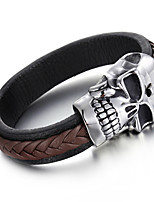 Kalen Men's Woven Leather Bracelet Punk 316 Stainless Steel Huge Skull Charm Bracelet Bangle Rock Jewelry Male Accessory