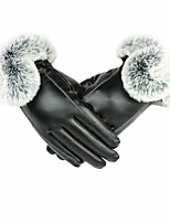 (Anmerkung - schwarz) Frauen PU-Leder-Handschuhe