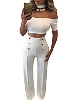 Women's Club Sexy Summer Tank Top Pant Suits,Solid Boat Neck Short Sleeve White / Black Polyester / Spandex Thin