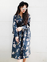 NININIU   Women's Going out / Casual/Daily Vintage Loose DressFloral V Neck Above Knee Long Sleeve Blue Polyester Fall / Winter Mid Rise Inelastic