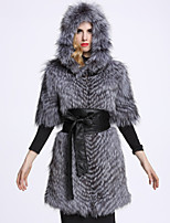 BF-Fur Style Women's Casual/Daily Sophisticated Fur CoatSolid Hooded Short Sleeve Winter Gray Fox Fur