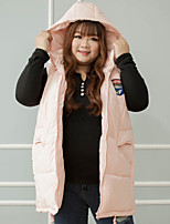 Женский На каждый день Однотонный Куртка Капюшон,Простое Зима Розовый Без рукавов,Полиэстер,Средняя