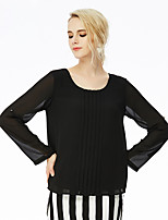 NAKED ZEBRA Women's Casual Street chic Spring BlouseSolid Round Neck Long Sleeve Black Polyester