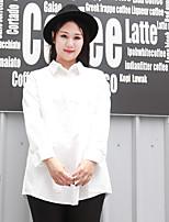 Chemise Femme,Couleur Pleine Décontracté / Quotidien / Grandes Tailles simple Automne Manches Longues Col de Chemise Blanc Polyester Moyen