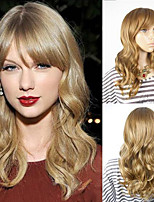 Medium Blonde Female Taylor Swift Style Heat Resistant Wigs Celebrity Wave Hairstyle Capless Synthetic Hair Wigs