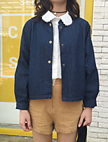 Women's Going out / Casual/Daily Cute / Street chic Jackets,Solid Stand Long Sleeve Fall / Winter Blue Others Thin