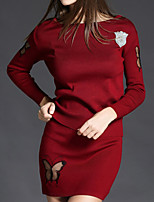Women's Casual/Daily Simple Fall / Winter Set Skirt Suits,Solid Round Neck Long Sleeve Red / Black / Gray Polyester Medium