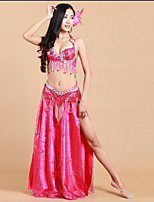 Belly Dance Outfits Women's Performance Milk Fiber / Spandex Sequins / Split 3 Piece Sleeveless Natural Dance Costumes